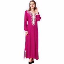 Muslim women Long sleeve hijab Dress maxi abaya jalabiya islamic women dress clothing robe kaftan Moroccan fashion embroidey1631(China)