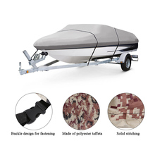 11-22 Feet Boat Cover Speedboat Boat Cover Heavy Duty V-Hull Boat Cover Polyester Taffeta UV Water Resistant with Storage Bag(China)