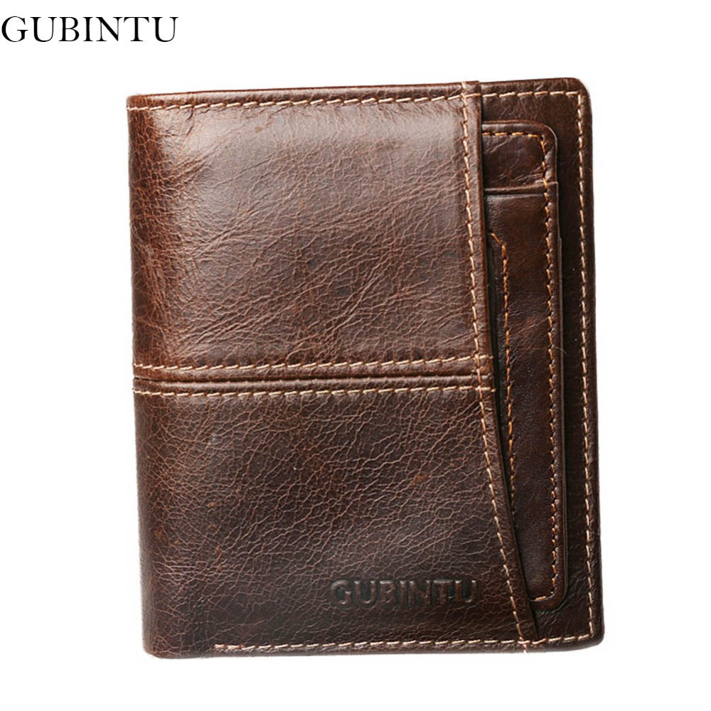 GUBINTU 100% Genuine Leather Wallet Men High Travel Male Purse Rfid Card Holder European Car-Covers-- BID188 PM49