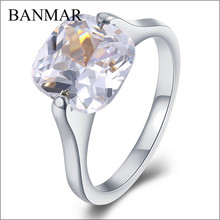 BANMAR Stainless Steel Zircon Rings For Women With Beautiful CZ Stones Bright Sliver Tone Aneis Rings Edelstahl Hot