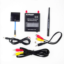 Aomway 5.8G 48CH AV Audio Video Dual Receiver RX with 6dbi Panel Antenna Cable DVR Diversity Recorder for FPV Photography(China)