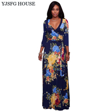 YJSFG HOUSE Vintage Autumn 3/4 Sleeve Long Floral Print Dress Women 2017 Maxi Evening Party Dresses Ladies V-neck Tunic Vestidos(China)