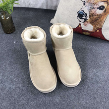 GXLLD Leather 5854 fur Body Shoes Snow Boots leopard Soft Cute Women Snow Boots Round Toe Flat with Winter Fur Mid-Calf Boots(China)