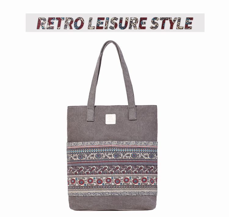 Canvasartisan Brand new canvas women handbags floral vintage female shopping shoulder bag zipper closure tote hand bags 3
