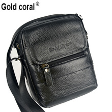 gold coral Genuine leather crossbody bag man casual cowhide male multi-layer shoulder bag small messenger bags for men