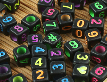 Factory Direct Sell 2750PCS/Bag 6*6MM Black with Neon Colors Printed  Square Acrylic Alphabet Letter Beads Big Hole Number Beads