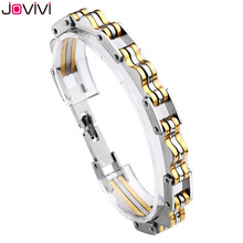 "2017 New Style JOVIVI Men's Solid Stainless Steel Mens Bracelet Bike Chain Wide Motorcycle Heavy Bangle Bracelet Jewelry 8.7""(China)"