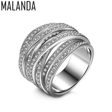 MALANDA Brand New Luxury White Zircon Rings For Women Fashion Engagement Female Wedding Ring Jewelry Mother's Gift Accessories(China)