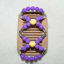12 pcs / lot  medium size purple yellow silver Lady Beaded Magic Strecthy Hair Combs Double Clips Combs