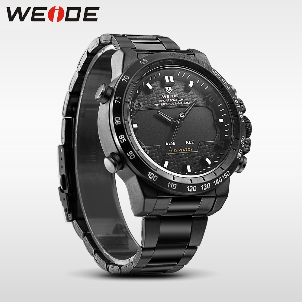 WEIDE steel series watches mens watches top brand luxury sport led digital shockproof waterproof watch black quartz watch clock<br>