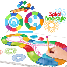 Spiral Designer Drawing Free style 24PCS Interchangeable frame with 3 Pens Creative Spirograph Drawing Educational toys for kid(China)