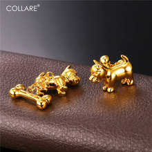 Collare Cute Dog With Bone Cufflinks For Mens Gold/Silver Color Cufflink Trendy Jewelry Cufflink High Quality C137(China)