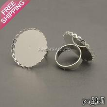Brass Pad Ring Components, with Round Cabochon Setting, Adjustable, Silver, Inner Diameter: 17mm, Tray: 25mm