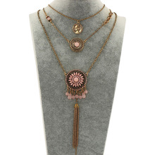 New Ethnic Multilayer Tassel Beads Pendants Long Necklace for Women Retro Pink and Blue Beads Round Maxi nice Necklace