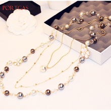 3-layers luxury crystal Simulated-Pearls Sweater Chain Necklace Flower Camellia Layered Choker Collares Double C jewelry