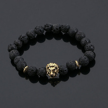 LIVVY 2017 new jewelry metal large ancient  lion head natural  stone bead lava Black Bracelet man to female energy