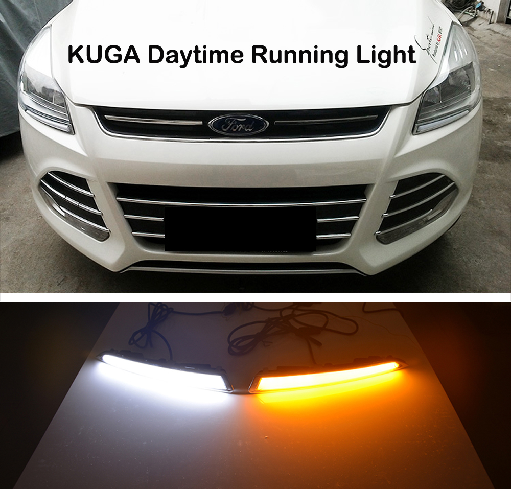 2xWith Yellow Turning Function Chromed ABS Cover 12V Car DRL LED Daytime Running Light For Ford Kuga Escape 2013 2014 2015 2016<br>
