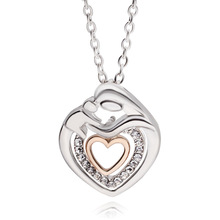 Fancy Mom Hold Child Heart Design Pendant Necklaces Silver Link Chain Necklace For Mother's Day Gift Jewelry Collier Femme