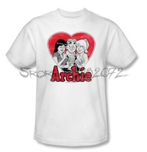 Archie Comics Archie Betty Veronica Sharing Milkshake Tee Shirt Adult S-3XL(China)