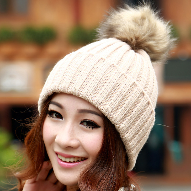 Classic Tight Knitted Fur Hat Women Cap Winter Beanie Headgear Headdress Head Warmer Top Quality 12Îäåæäà è àêñåññóàðû<br><br><br>Aliexpress