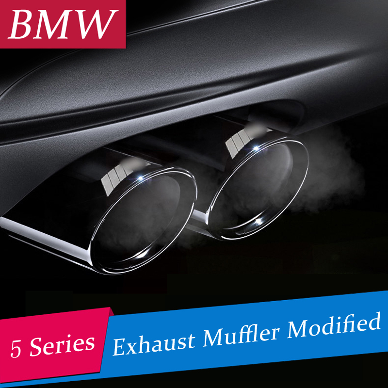 Chrome Car Stainless Steel Exhaust Muffler Tip Pipes Rear Pipe Modified Tail Throat Liner For BMW 5 series F10 F18 520li 525li <br>