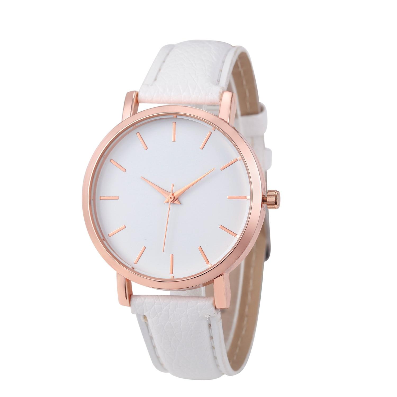 Leather Stainless Steel Analog Quartz Wrist Watch