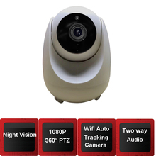 1080P Mini Wifi PTZ IP Panoramic Camera with 360 Degree Monitoring ,Auto Tracking Camera Mode for Moving Objects Alert Push(China)