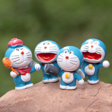 Sale mini cute Doraemon cat fairy garden miniatures gnomes moss terrariums resin craft figurines for home decoration accessories(China)