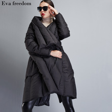 High Quality 2017 Winter Women's European Design Runway Fashion Asymmetric Length Long Down Coat High-end Brand Down Jacket(China)