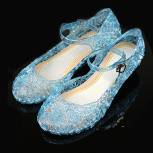 LSK High Quality Glitter Elsa Shoes Girls Party Sandals Baby Girls Crystal Shoes 2015 Brand New Children Shoes