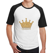 King and Queen Couple mens guys t shirts short sleeve Cool Dry cotton O-Neck crazy(China)