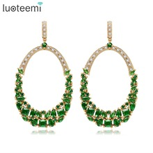 LUOTEEMI New Gold-Color Women Latest Copper Metal Drop Model Heavy Bridal Fashion Earrings Wedding Engagement Jewelry Brincos(China)