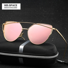 2017 HD women cat eye sun glasses Metal color film glasses RETRO SUNGLASSES womens sunglasses brand designer women glasses