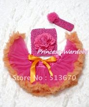 Hot Pink Orange Baby Pettiskirt, Hot Pink Peony Hot Pink Crochet Tube Top, Hot PInk Rose Headband 3PC Set MACT112