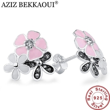 European Original 925 Sterling Silver Poetic Daisy Cherry Blossom Stud Earrings Pink Lotus Flower Earrings for Women Engagement