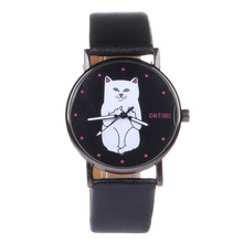 2017 New Cute Cat Watch Fashion Leather Women Watches Bracelet relojes mujer bayan saat relogio feminino preto