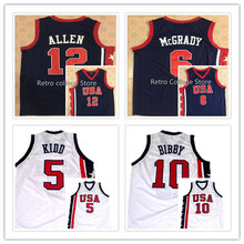 Double Stitched and Embroidery #12 Ray ALLEN #6 Tracy McGrady #5 Jason Kidd #10 Mike BibbyTeam USA Basketball Jersey Navy Blue A