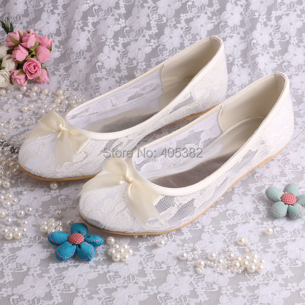 Wedopus MW029 Ladies Ivory Lace Ballerina Flats Bridal Wedding Shoes Women with Bows Size 42 <br>