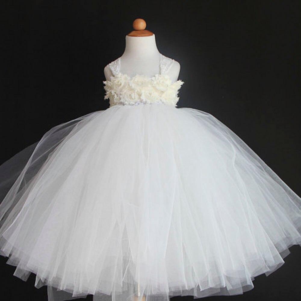 Elegant Flower Tutu Dress Pink Beige Purple Wedding Dresses For Party Baby Shower Clothing Toddler Girl Dresses<br>