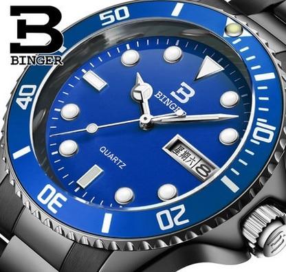Genuine Luxury BINGER Brand Men full steel calendar waterproof luminous quartz male blue dial fashion watch free shipping<br>