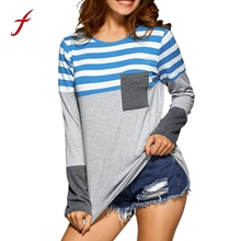 Buy Women Plus Size T Shirt Loose Long Sleeve Clothes Women Stripe Shirt Tees Pockets Clothing Fashion Casual Tops Blusa 2017 for $9.87 in AliExpress store