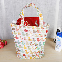 2018 shopping bag Girl Shopping Tote Duck Pattern Eco Bag Cotton Grocery Reusable Handbags Item Organizer Big Space For Women(China)