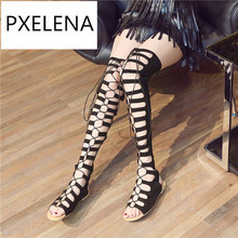 PXELENA 35-43 New Hot Over The knee Gladiator Sandals Woman 2017 Summer Rome Cross-tied Flat Comfort Sandals Ladies Shoes 17-5(China)