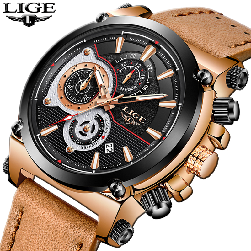 New LIGE Mens Watches Top Brand Luxury Quartz Gold Watch Men  Leather Casual  Military Waterproof Sport Watch Relogio Masculino<br>