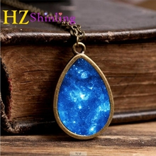 2017 New Orion Nebula Necklace Galaxy Space Jewelry Tear Drop Pendant Universe Vintage Chain Glass Photo Necklaces