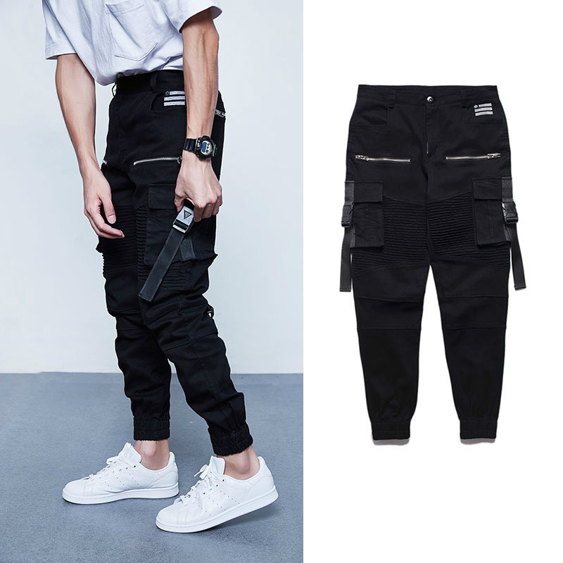 Hiphop Brand Sweatpants Covert Multi-pocket Slim Trousers Mens Skateboard Casual Joggers Cargo Pants