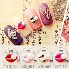 10 Pcs/Lot Red Pink Gold Rose Lips Pearl 3D Nail Art  Decorations Glitter Charms Nails Jewelry TN1246-1250