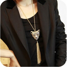 N098 Latest Fashion Nlaid Imitation Leopard Head Fringed Long Sweater Chain Necklace Jewelry Factory Direct