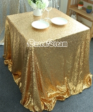 "Gold Sequin Tablecloth Wedding Cake Tablecloth Square Sequins Table Overlay Wedding Sequin Table Linens 90""X90"""