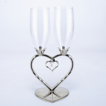 Home decoration Sliver Champagne Flutes with Heart Shape Diamond Rhinestone Crystal Wedding Glasses Toasting Cup Wine Drinkware(China)